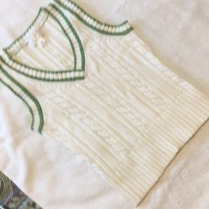 Ann Taylor XSP, white cable knit with green rib